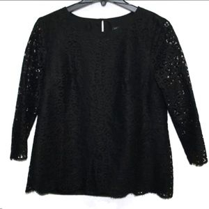 J Crew black scalloped lace 3/4 sleeve blouse